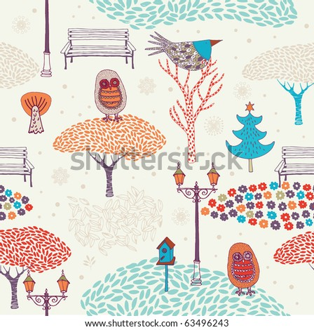 Winter Christmas forest with owls