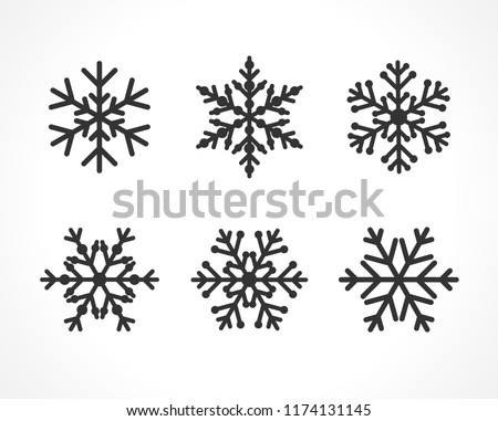 Winter christmas frost vector icon, snowflakes isolated silhouette symbol. Snowflake line art set on gray color