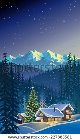 Winter Christmas landscape.
