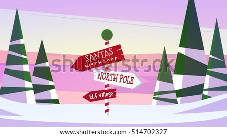 Winter Christmas New Year landscape vector illustration in cartoon style