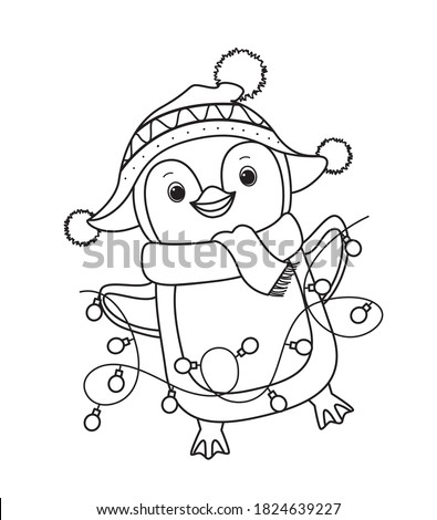 Winter Christmas penguin for coloring book.Line art design for kids coloring page. Vector illustration. Isolated on white background Stock photo ©