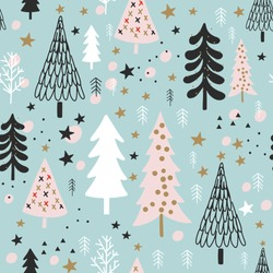 Winter Christmas Seamless  Pattern, Vector Children Background, kids wallpaper for fabric, textile, clothes, paper, scrapbooking, planner, sticker