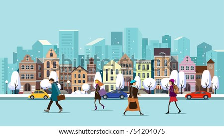 Winter Christmas urban landscape.  Roadway with car traffic and pedestrians on the sidewalk in the foreground.Urban winter landscape with people.Vector illustration.