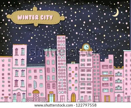 winter city   hand drawn