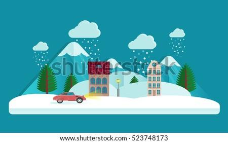 winter city landscape evening