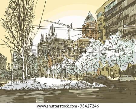 winter city painting digital
