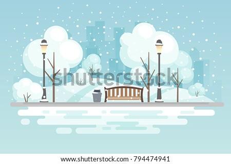 winter city parkvector