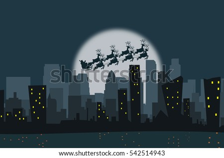 winter city silhouette santa