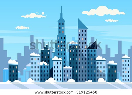 winter city skyscraper view