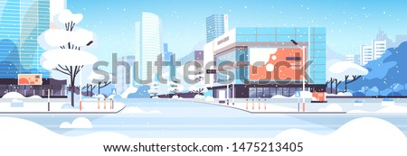 winter city snowy downtown