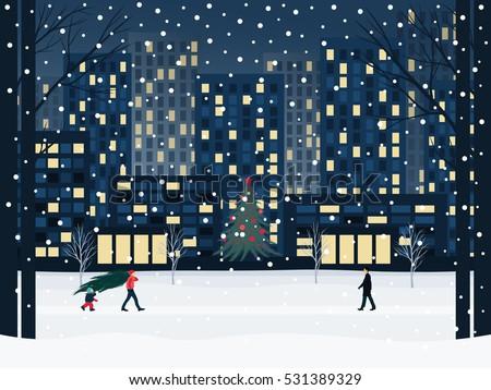 winter city under the snow