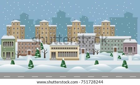 winter cityscape cartoon