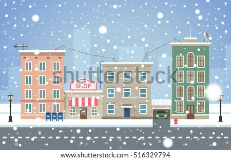 winter cityscape snowfall in