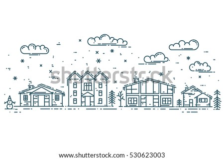 winter cityscape vector