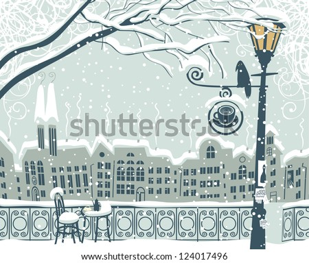 winter cityscape with a lantern ...