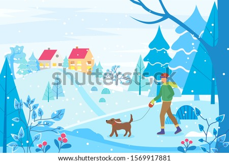 winter cityscape with houses on