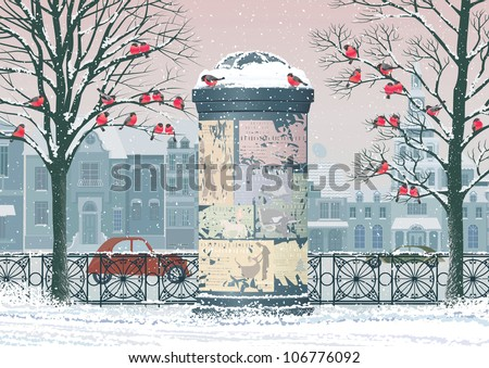 Winter cityscape with old advertising column, flocks of bullfinches perching on the trees and houses on the background