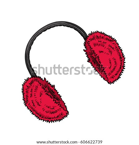 Winter clothes. Earmuffs. Bright red fluffy made of fur ear warmers, accessory. vector icon