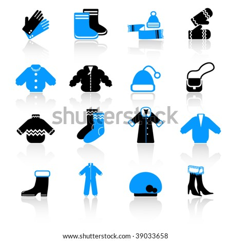 winter clothes icons