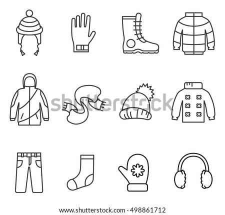 Winter clothes, line icons set. Warm clothes collection, vector linear illustration