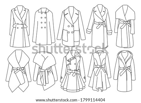 Winter clothing collection. Set of coat of different shapes for women. Flat front view. Lady's trench coat. Сток-фото ©