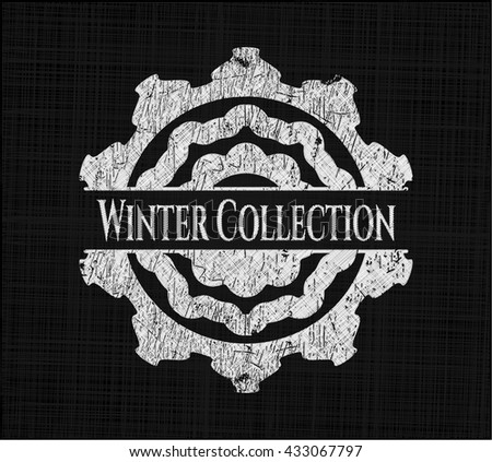 Winter Collection chalk emblem, retro style, chalk or chalkboard texture