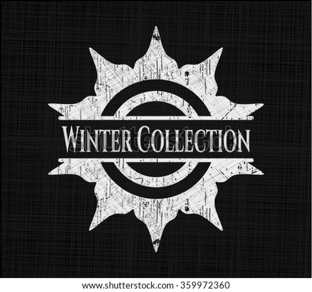 Winter Collection chalkboard emblem written on a blackboard