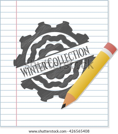 Winter Collection emblem draw with pencil effect