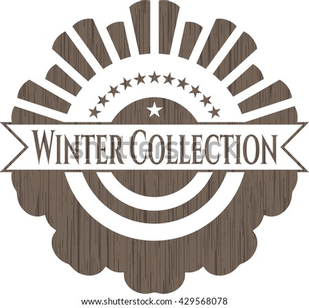 Winter Collection realistic wooden emblem