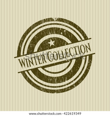 Winter Collection rubber stamp with grunge texture