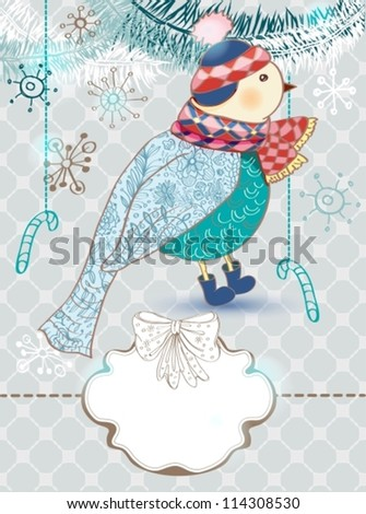 Winter color cartoon background with cute bird, Christmas card, vector