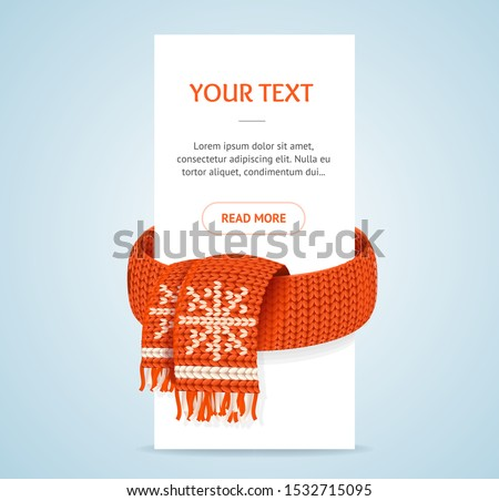 Winter Concept Banner with Realistic Detailed 3d Element Include of Red Knitted Scarf with Snowflake. Vector illustration