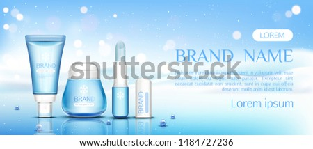 Winter cosmetic chapstick, lip balm tubes and cream jar on ice surface with pearls on snow drift background, beauty cosmetics product bottles set mock up line. Realistic 3d vector illustration, banner