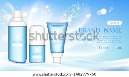 Winter cosmetic tubes stand on snow drift, bottles set mock up line , beauty cosmetics product blue bottles with white cap and snowflake, gel, cream, lotion. Realistic 3d vector illustration, banner