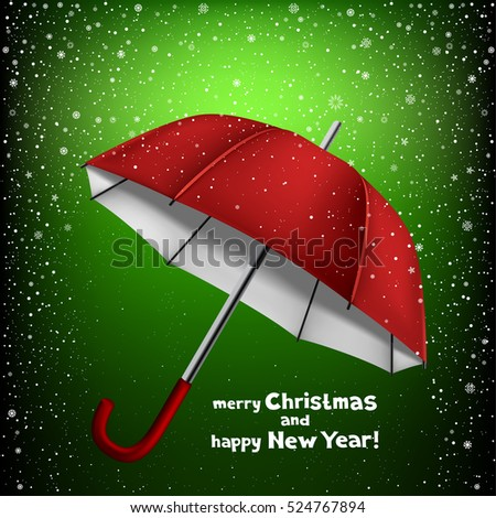stock-vector-winter-dark-green-background-with-snow-and-opened-umbrella-lettering-merry-christmas-and-happy-new