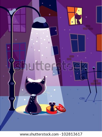 Winter date. The vector illustration of a cat waiting for his girlfriend.
