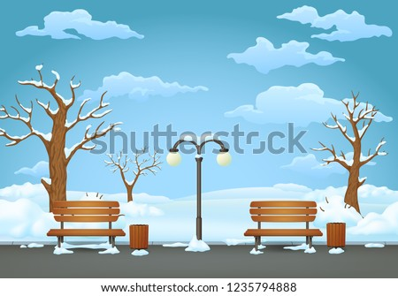 winter day park two benches