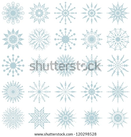 Winter decorative set with various snowflake shapes