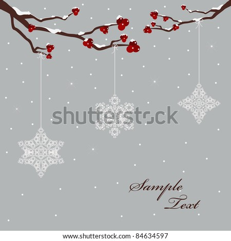 winter design with berries and snowflakes