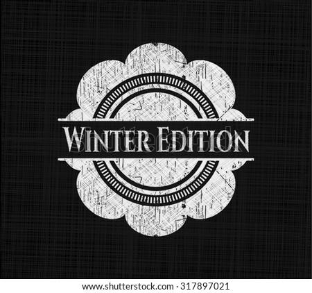 Winter Edition chalk emblem written on a blackboard