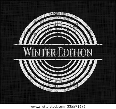 Winter Edition chalkboard emblem on black board