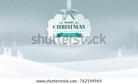 Winter evening landscape background with falling snow and trees in the fog. Paper 3D label with silver ribbon and bow and Christmas and New Year vintage badge. Minimal and clean design. Vector.