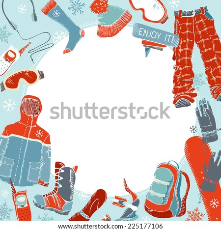 Winter extreme sport background. Hand-drawn snowboard clothing and kit. There is place for your text in the center.