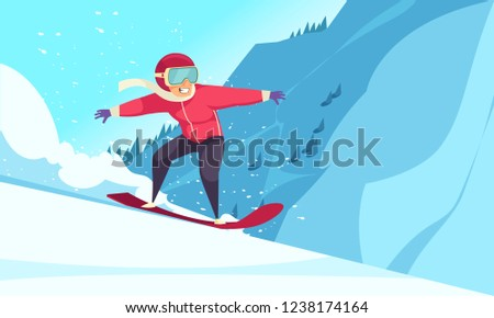Winter extreme sports background with snowboarding symbols flat vector illustration