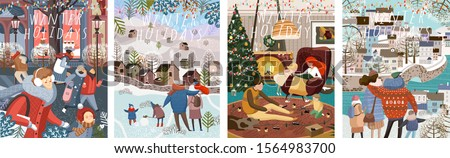 Winter family holidays. Cute vector illustration of a family and people shopping in the New Year and Christmas, walking in the city and at home in a cozy living room. Drawings for card, background or