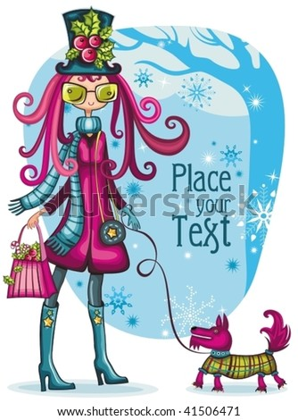 winter fashion girl with