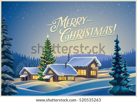winter festive landscape with