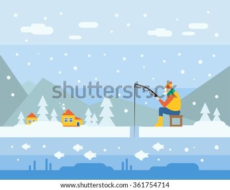 winter fishing cartoon vector