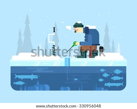 winter fishing ice and snow