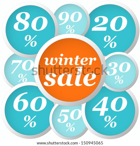 winter flat orange and blue circle labels with discounts and text